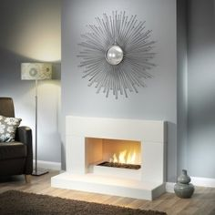 the low fireplace suite is chic and contemporary and ideal for modern . Linear Fireplace, Home Fireplace, Fireplace Design, Fireplace Ideas, Fireplace Suites, Pretty Room, Design Your Home, Home Reno, Building A House