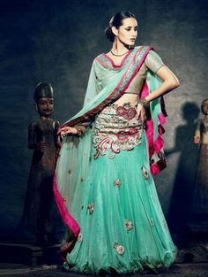 Sea Green Net Lehenga Choli with Resham and Zari Work