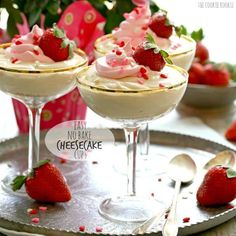 No Bake Cheesecake is such an easy and in this case, healthy treat. This Easy No Bake Cheesecake Recipe makes the perfect simple and elegant dessert for Valentine's Day or any day of the year! These little no bake cheesecake cups are made with pudding and yogurt to make them extra healthy and yummy! Both kids and adults will love this good for you yet decadent dessert.