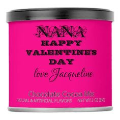 """Shop Pink """"love you HAPPY VALENTINE'S DAY Jacqueline"""" Hot Chocolate Drink Mix created by ijustwannabe. Personalize it with photos & text or purchase as is! Unique Valentines Day Gifts, Valentine Day Love, Gifts Love, Pink Gifts, Hot Chocolate Gifts, Valentine Chocolate, Happy Birthday Love, Pink Birthday, Birthday Gifts"""