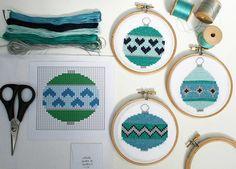 christmas baubles cross stitch kit by stitchkits | notonthehighstreet.com