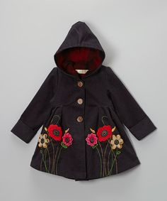 Take a look at this Charcoal Flower Corduroy Hooded Swing Coat - Toddler & Girls by Maria Elena on #zulily today!