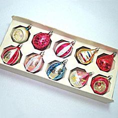 Box Poland Decorated Teardrop Glass Christmas Ornaments