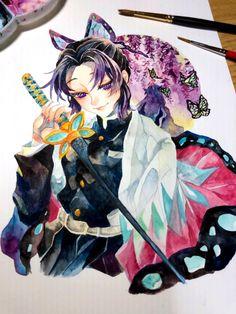 Manga Watercolor, Watercolor Illustration, Watercolor Paintings, Yandere Anime, Anime Manga, Anime Art, Demon Slayer, Slayer Anime, Really Cool Drawings