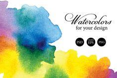 Set of 5 watercolor splashes by Olga Lebedeva on Creative Market