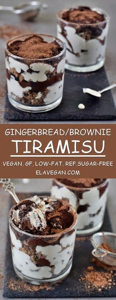 Vegan tiramisu with gingerbread and brownies. The recipe is plant-based, gluten-free, refined sugar-free, low in fat, relatively healthy, and can be made nut-free. Great Christmas dessert which is easy to make