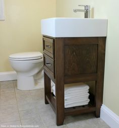 Diy bathroom furniture bathroom remodel build small vanity with an ikea sink and it has both Bathroom Door Hooks, Ikea Bathroom Vanity, Ikea Sinks, Diy Vanity Mirror, Small Vanity, Small Bathroom Vanities, Bathroom Toilets, Bathroom Ideas, Vanity Ideas