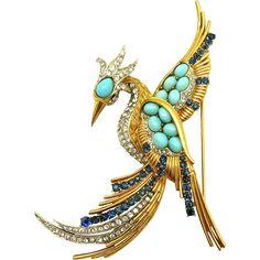 BOUCHER Faux Turquoise, Sapphire Blue, & Diamante Massive Phoenix Bird… - found at www.rubylane.com @rubylanecom