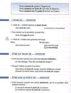 Passé récent et présent progressif French Verbs, French Grammar, Core French, French Class, French Language Lessons, French Lessons, French Teacher, Teaching French, French For Beginners