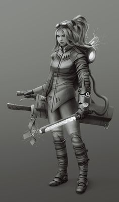 Scifi Steampunk Magic girl 2 - Greyscale by StMan.deviantart.com on @deviantART
