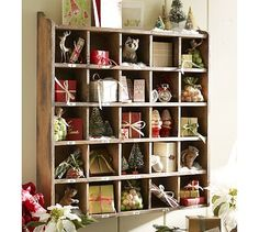 Cubby Christmas- I could do this with the cubby I just found at the Goodwill!  So fun!!!