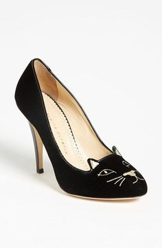 Charlotte Olympia 'Kitty' Pump available at Nordstrom. I love how these get the cute kitten look without losing out on style :) Charlotte Olympia, Cat Shoes, Shoe Boots, Shoes Heels, Prada Shoes, High Heels, Mode Shoes, Shoe Gallery, Cute Flats