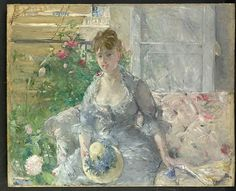 Berthe Morisot (French, 1841–1895). Young Woman Seated on a Sofa, ca. 1879. The Metropolitan Museum of Art, New York. Partial and Promised Gift of Mr. and Mrs. Douglas Dillon, 1992 (1992.103.2) #spring