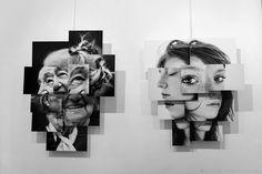 """ Madame Guédon"" & "" Léna "" - Photosculptures - fotofever 2015 - Brno Del Zou - Galerie Courcelles - Paris"