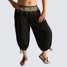 Black Oriental Decorated Harem Pants - Yoga Pants - Model P47 - Oriental Fashion #http://www.pinterest.com/OGfashion/