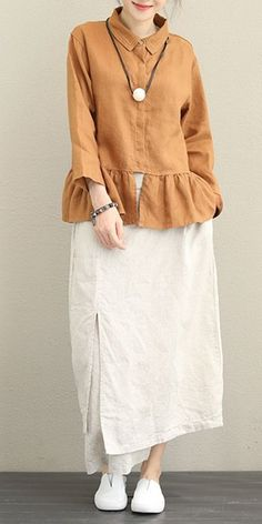 Casual Linen Shirt Women Loose Tops For Autumn Buy trending women t-shirt from our store and get off. You will not find this t-shirt in another store, so grab this Limited Time Discount Now! Hijab Fashion, Boho Fashion, Fashion Dresses, Womens Fashion, Fashion Design, Wedding Day Shirts, Hijab Style, Mode Hijab, Loose Tops