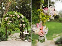 hanging florals on wedding arch
