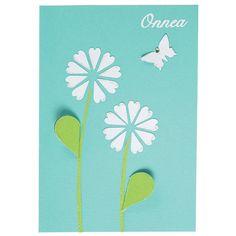 Kuvioleikkureiden avulla valmistettu kortti. Tarvikkeet ja ideat Sinellistä!