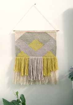 Woven wall hanging / Greenfinch 2 / tapestry / by Lepetitmoose