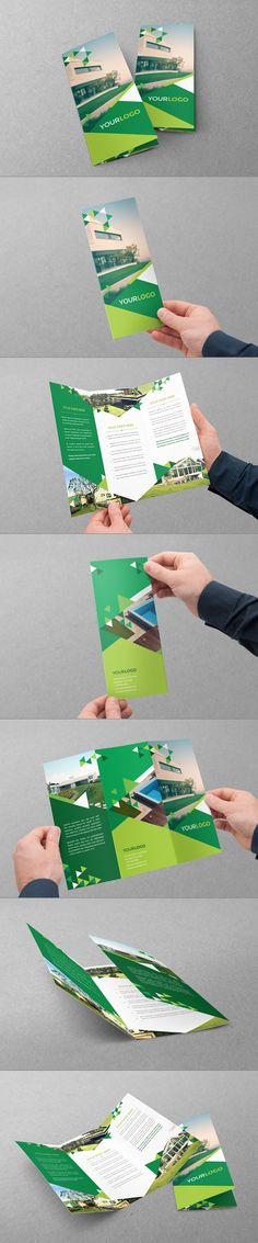 Green Triangles Trifold by Abra Design, via Behance                                                                                                                                                                                 Más