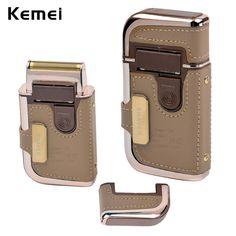 2 en 1 Kemei Envuelta Recargable máquinas de Afeitar Maquinillas de Afeitar Eléctrica de Los Hombres de Cuero de La Vendimia Del Bigote de la Barba Trimmer Máquina de Afeitar para Los Hombres
