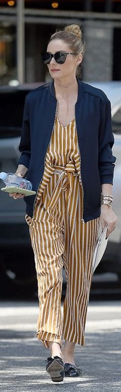 Who made  Olivia Palermo's yellow stripe pants, white stripe top, gold watch, and black sunglasses?