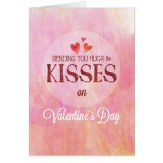 Valentine's Day Sending You Hugs & Kisses Card - valentines day gifts love couple diy personalize for her for him girlfriend boyfriend