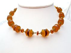 West Germany Amber Glass Bead Necklace Art Deco