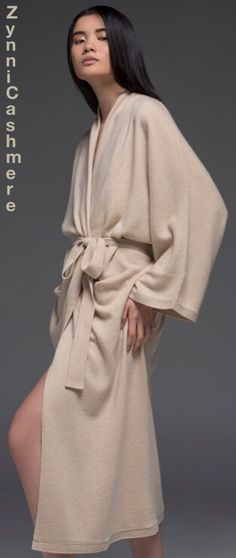 Created by luxury designer, this high quality woman no-dye cashmere robe looks luxurious and sumptuous.  Pale shades offer a feminine touch to loungewear staples.  This heavy gauge robe with above-the-ankle hemline and two side pockets is ready to take you to unexpected levels of relaxation and comfort.   See also Zynni Cashmere cardigans and sweaters.