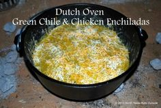 Dutch Oven Green Chile, Chicken and Spinach Enchiladas. I made 2 D.'s worth on a recent BSA campout. Can be made as a casserole at home in the oven too. Fire Cooking, Cast Iron Cooking, Oven Cooking, Outdoor Cooking, Dutch Oven Recipes, Cooking Recipes, Spinach Enchiladas, Cheese Enchiladas, Chicken Enchiladas