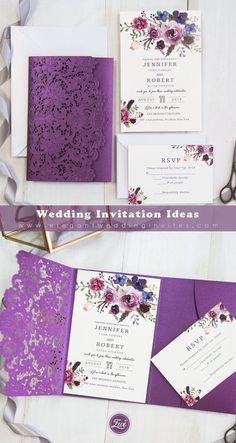 vivid shades of purple watercolor floral laser cut pocket wedding invitations EWWS202