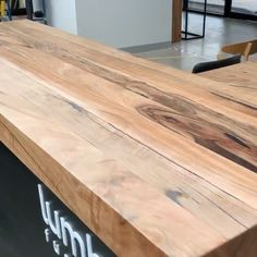 """The LUMBER team are giving """"THE BLOCK"""" Counter bench a makeover before it heads to the Block Shop on Monday ! We are so excited that production is about to start for The Block Reclaimed Wood Dining Table, Wooden Dining Tables, Wood Table, Butcher Block Dining Table, The Block, Wooden Benchtop Kitchen, Woodworking Bench Plans, Woodworking Joints, Woodworking Books"""