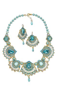 Bib-Style Necklace and Earring Set with SWAROVSKI ELEMENTS and Seed Beads CAREZZA Eliana Maniero Jewels 2013