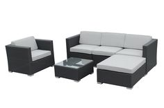 Conversation Sets - Wicker Sectional Sets - Capri - 6 Piece Wicker Sectional Set