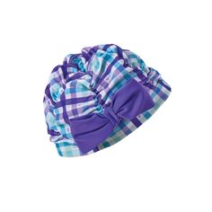Baby's little noggin will stay warm and safely protected from the sun when they take to the water in this darling swim cap. Baby Girl Swimwear, Swim Caps, Girls Swimming, New Skin, Blue Plaid, Stay Warm, Baby Car Seats, Infant, Purple