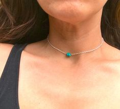 Simple Turquoise Choker for Women, Silver and Stone, Genuine Turquoise, Boho Necklace Gifts, Jewelry for Her Tiger Eye Earrings, Stud Earrings, Jewelry For Her, Boho Jewelry, Blue Necklace, Turquoise Gemstone, Chokers, Simple, Silver