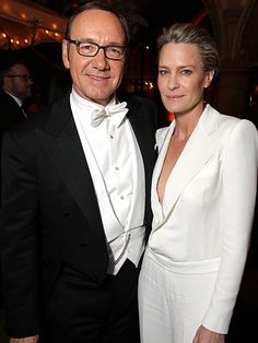 They didn't take home Emmys, but House of Cards's Kevin Spacey and Robin Wright still look like winners (love the white tie and tails, Kevin...