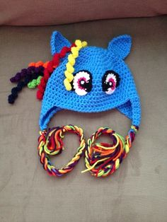 Rainbow Dash inspired ear flap hat