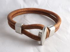 Men's Leather Bracelet with Hook Clasp - Now in antique brown!