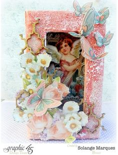 Beautiful altered small matchbook box using Sweet Sentiments and Scrapbook Adhesives by Solange #graphic45