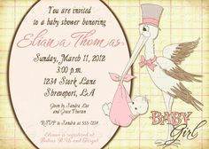 Vintage stork baby shower invitation for boy by inkypinkypaperie, $15.00