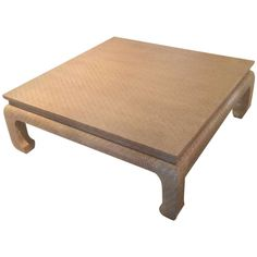 Baker Furniture Grasscloth Linen Wrapped Vintage Coffee Cocktail Table Ming 1