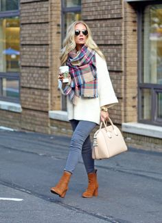 oversized sweater, plaid blanket scarf