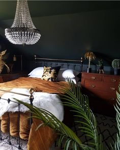 Dark boho bedroom ideas - black & brown bedroom with metal bed frame glass chandelier. Grown up luxe interiors Bedroom ideas A Story of Home - Bedroom Decor On A Budget, Home Decor Bedroom, Bedroom Ideas, Bedroom Designs, Bedroom Furniture, Brown Bedroom Decor, Dark Furniture, Ikea Bedroom, Bedroom Inspiration