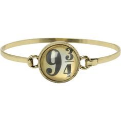 Harry Potter 9 3/4 Bangle Bracelet | Hot Topic ($50) ❤ liked on Polyvore featuring jewelry, bracelets, harry potter, hinged bangle, gold tone jewelry, bangle bracelet, bangle jewelry and hinged bracelet