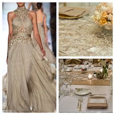 Champagne is not only trending off the runway but in wedding decor too! We love this color paired with blush, coral  purple hues to silvers, navy, and browns!  www.creativecoverings.com #creativecoverings #linens #fashion #love #moroccan #rosette #fabric #dress #champagne #gold #weddinglinens #eventlinens