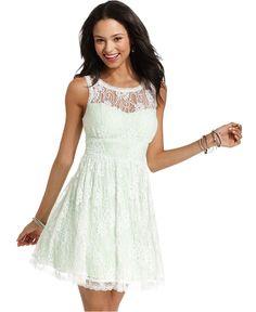 B Darlin Juniors Dress, Sleeveless Lace A-Line - Juniors Dresses - Macy's