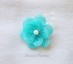 French Beaded Flower Brooch beaded pin flower by LaurenHCreations, $22.00 #frenchbeadedflower #brooch #flowerpin