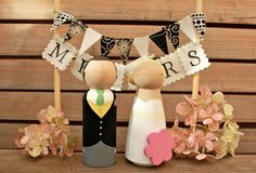 Custom Wooden Bride and Groom Wedding Couple Cake Topper NEW LARGE SIZE. £32.00, via Etsy.
