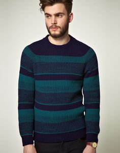 Striped jumper by ASOS. Constructed in a chunky knitted fabric. Featuring a tonal stripe design, a ribbed crew neck, raglan sleeves with fitted cuffs and in a slim fit.